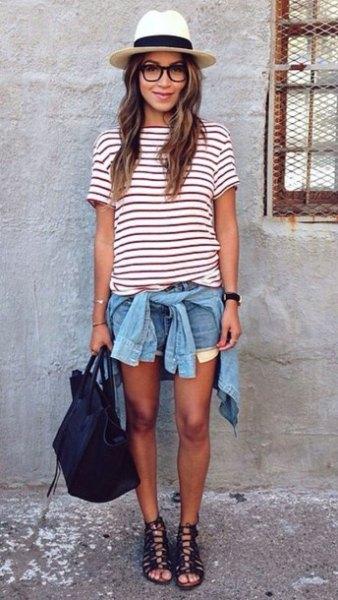 randig t-shirt jeansshorts med stråhatt