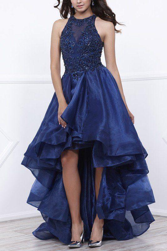Hög låg klänning kungsblå