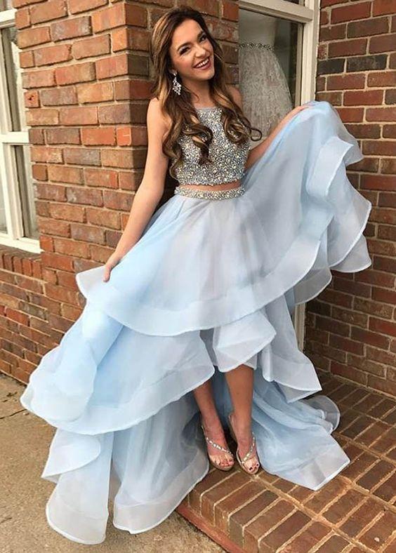 hög låg balklänning babyblå