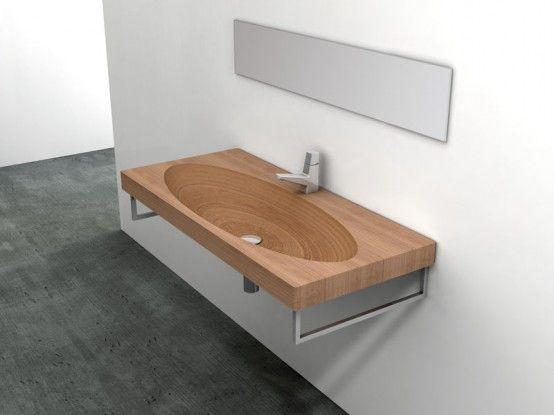 Natural Wood Sink - Stan av Plavisdesign    Träbadrum, unikt.