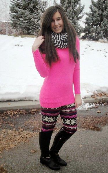 rosa tunika slim fit tröja med jul fleece leggings