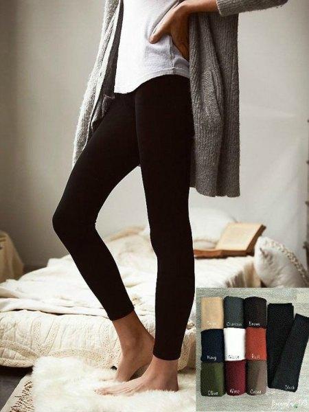 Tweed oversize jacka med svarta fleece leggings