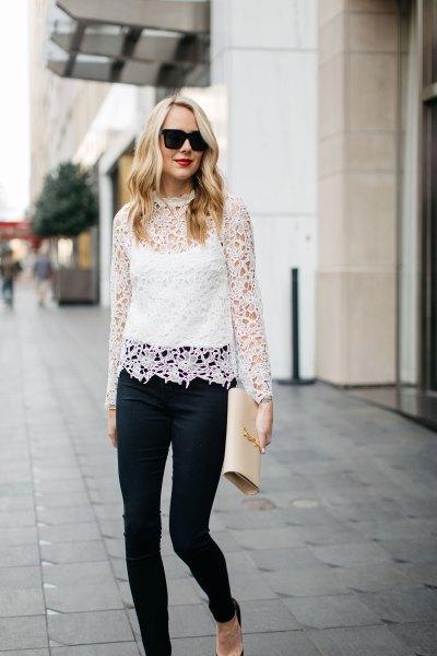 Långärmade skinny jeans med vit spets