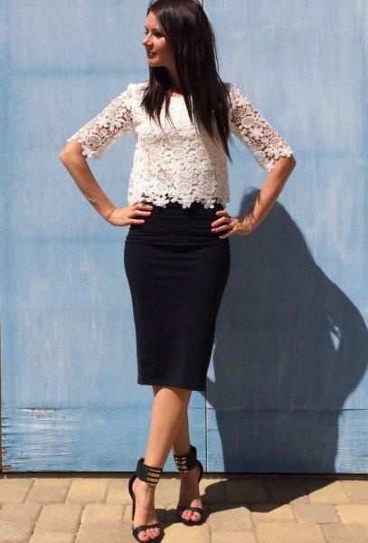 vit spets kjol svart penna kjol