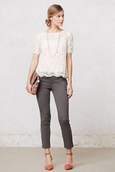 vita spetsiga grå skinny jeans