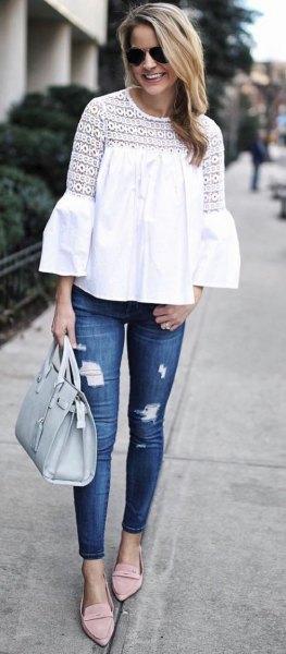 vita skinny jeans med klockärmar