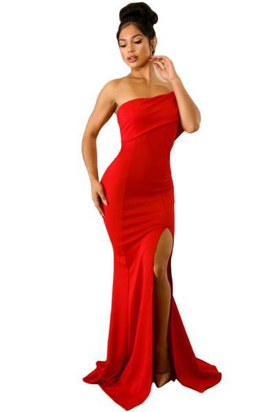 röd sjöjungfru golvlång tubklänning med sidoslits