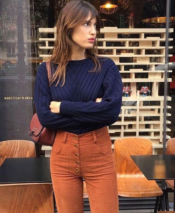 Orange byxor parisisk chic