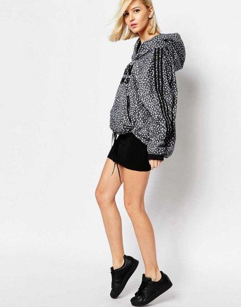 Polka Dot Oversized Windbreaker Jacket Svart kjol