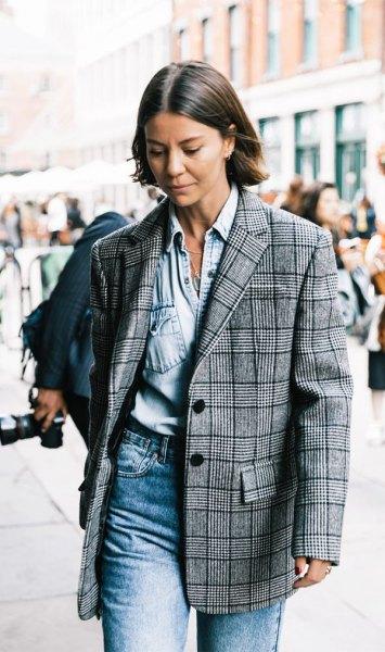 överdimensionerad blazer chambray skjorta mamma jeans