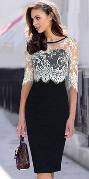 svart klänning vit spetsdyna