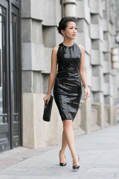 svart paljetter slida klänning balettklackar