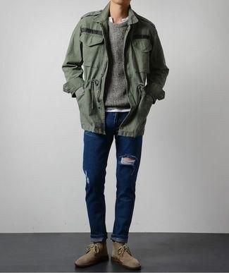 grå oversize polo windbreaker med mörkblå skinny jeans