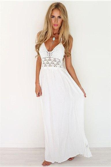 vit djup virkad maxi strandklänning