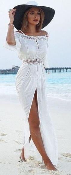 Hög split maxi vit strandklänning med hatt