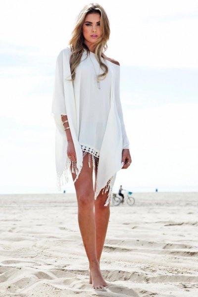 vit en axel mini cape strandklänning