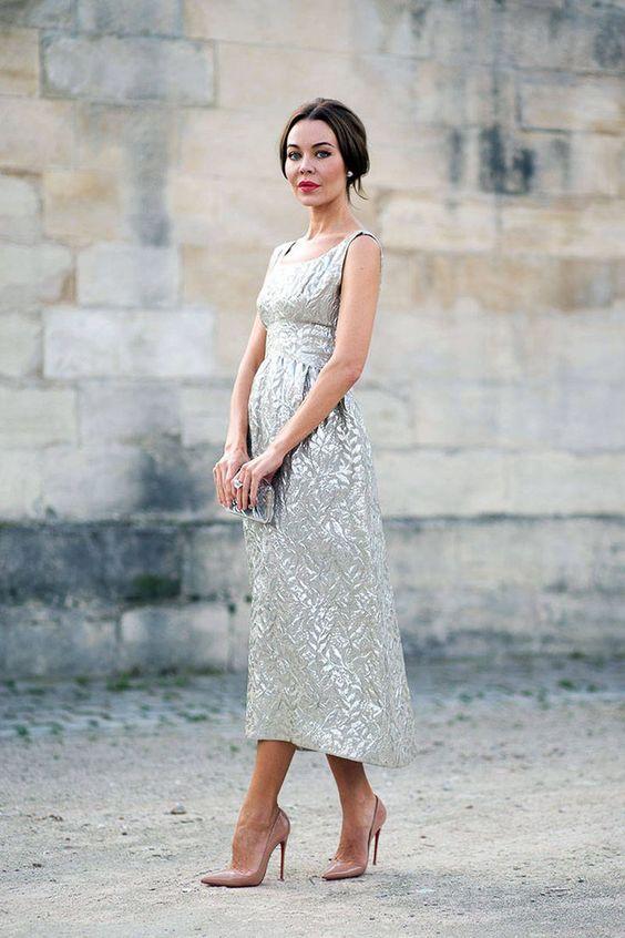 silver te-längd klänning