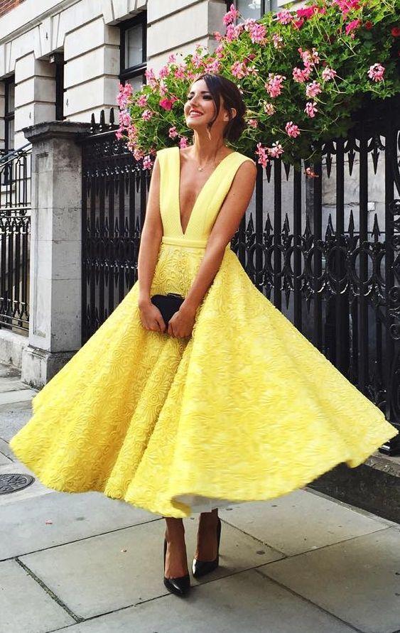 gul te-längd klänning