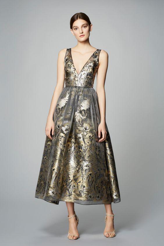 Brons te längd klänning