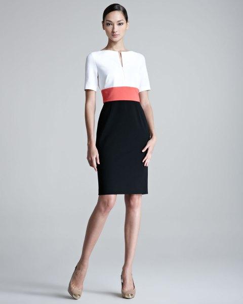 Bodycon-klänning med konstgjord bälte och färgblock