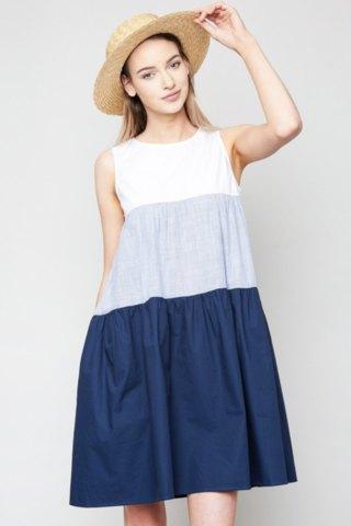 blå färgklänning gungklänning