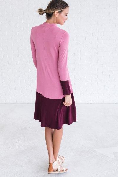 svart och rosa färgblock midi flare klänning