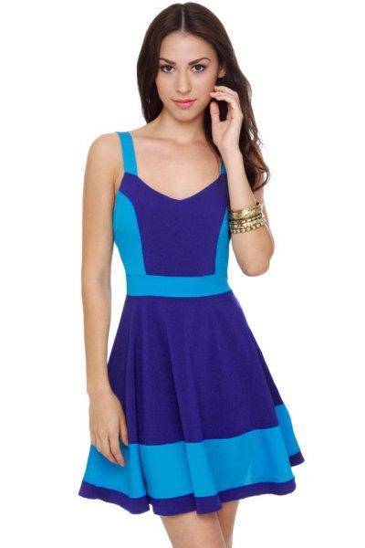Marinblå och himmelsblå Mini Block klänning för skater