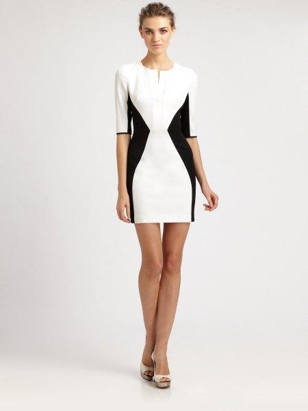 vit och svart bodycon miniklänning med halva ärmar