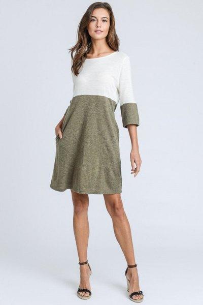 vit och ljunggrå swing t-shirt klänning
