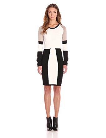 svart vit grå långärmad klänning
