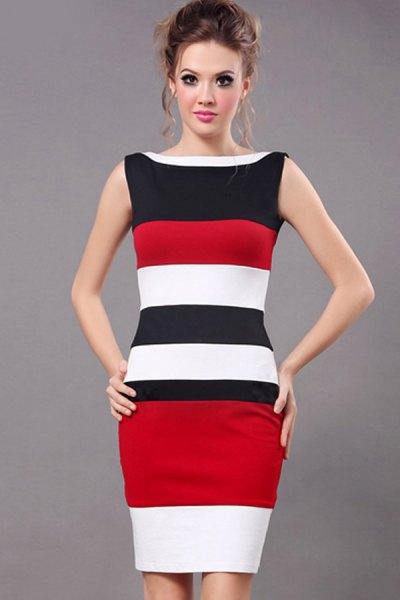 svart röd vit ärmlös bodycon-klänning