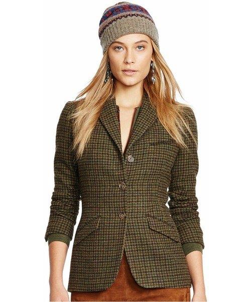 grå tweed slim fit golfjacka med grön sammet minikjol