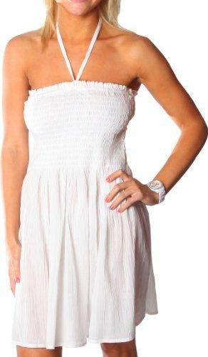 vit halter ruffle tube klänning