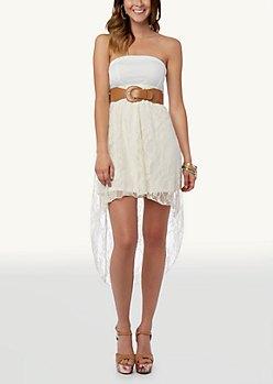 två tonat vitt bälte hög låg klänning