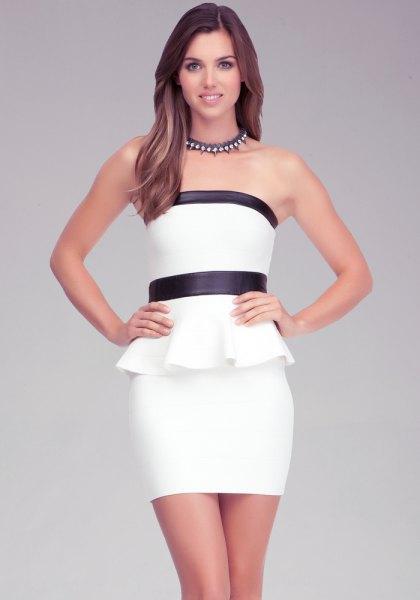 svart och vit peplum tub klänning