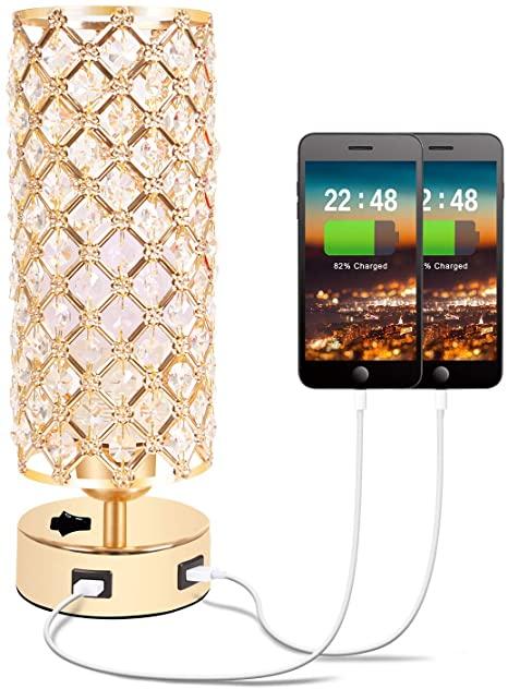 Amazon.com: USB Crystal Table Lamp, Gold Table Lamp med Dual USB.