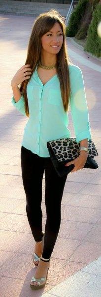 Mintgrön, slim fit skjorta med knappar och koppling med leopardmönster