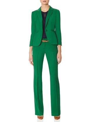 grön kostymjacka med byxor med raka ben i hög midja