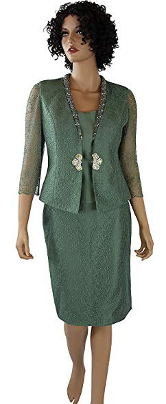 grön, halvtransparent kjoldräkt med sidenblus