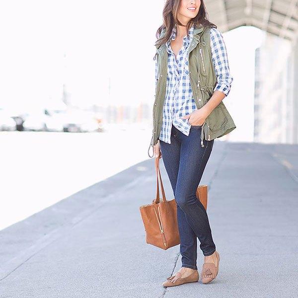 Pläd pojkvänskjorta Cargo Vest Jeans