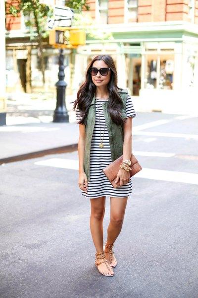 horisontell randig t-shirt klänning lastväst