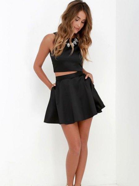 svart shortcut tank top skater mini kjol