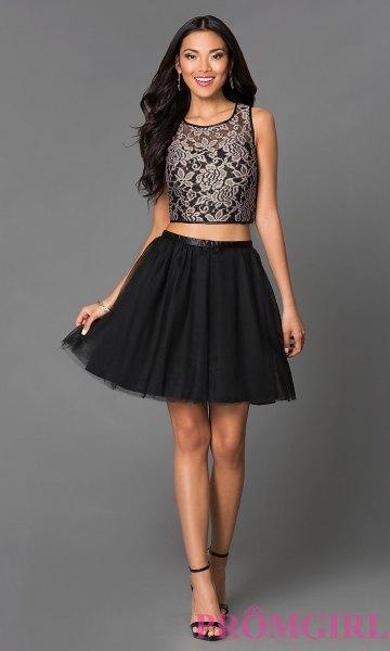 tvådelad klänning svart spets crop top tyll mini klänning