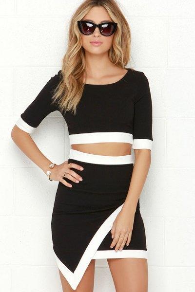 tvådelad wrap-klänning i svart och vitt