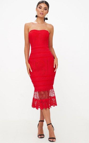 röd mermaid spets midi tube klänning med öppna tå klackar