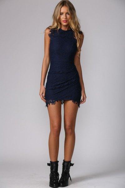 ärmlös bodycon mini spets klänning med läder ankel stövlar