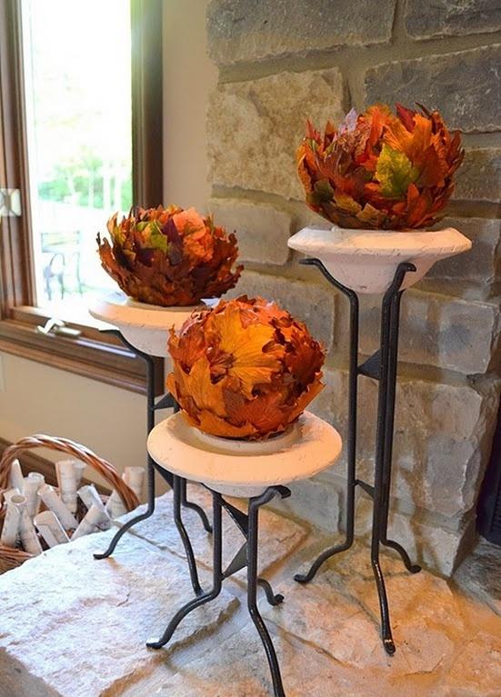 Gör det själv -Välkommen hösten med höstlöv i heminredningen.
