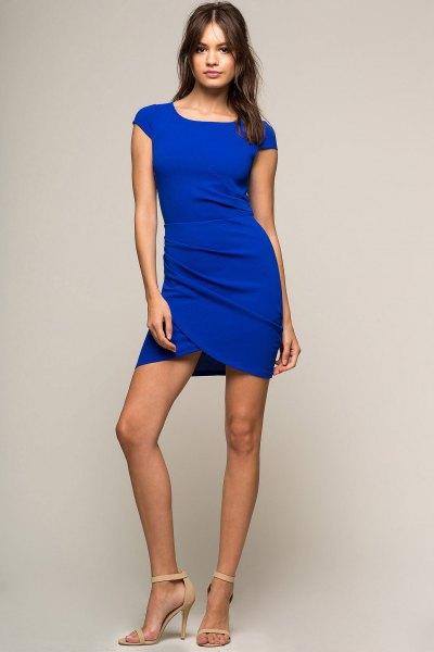 blå figurklädda miniklänning med kepsärmar