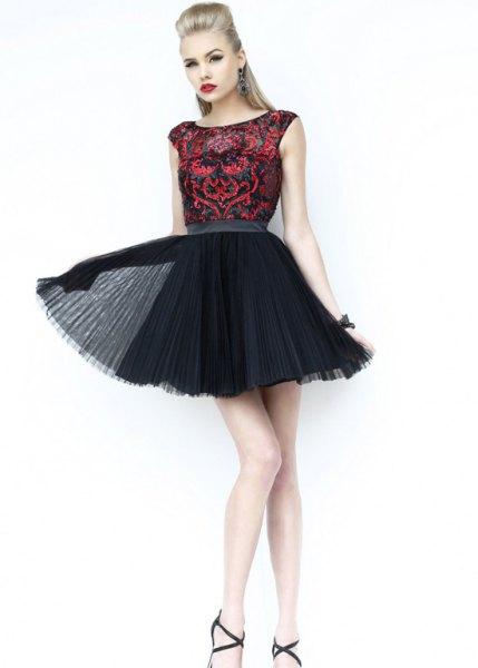 svart paljett tulle skater klänning