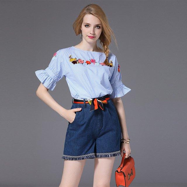 blå och vit randig blommig blus-denim minikjol
